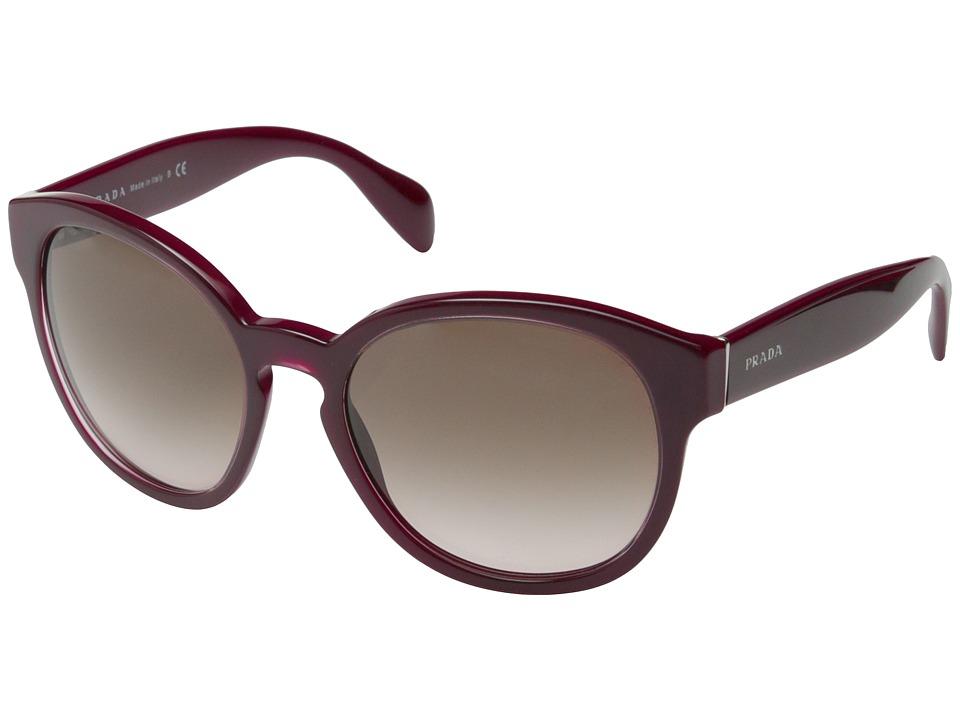 Prada - PR 18RS (Opal Bordeaux/Brown Gradient) Fashion Sunglasses