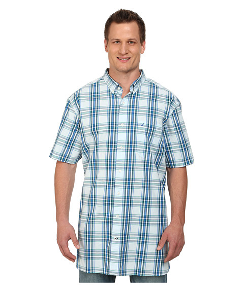 Nautica Big & Tall - Big Tall Short Sleeve Large Plaid (Seashore Blue) Men's Short Sleeve Button Up