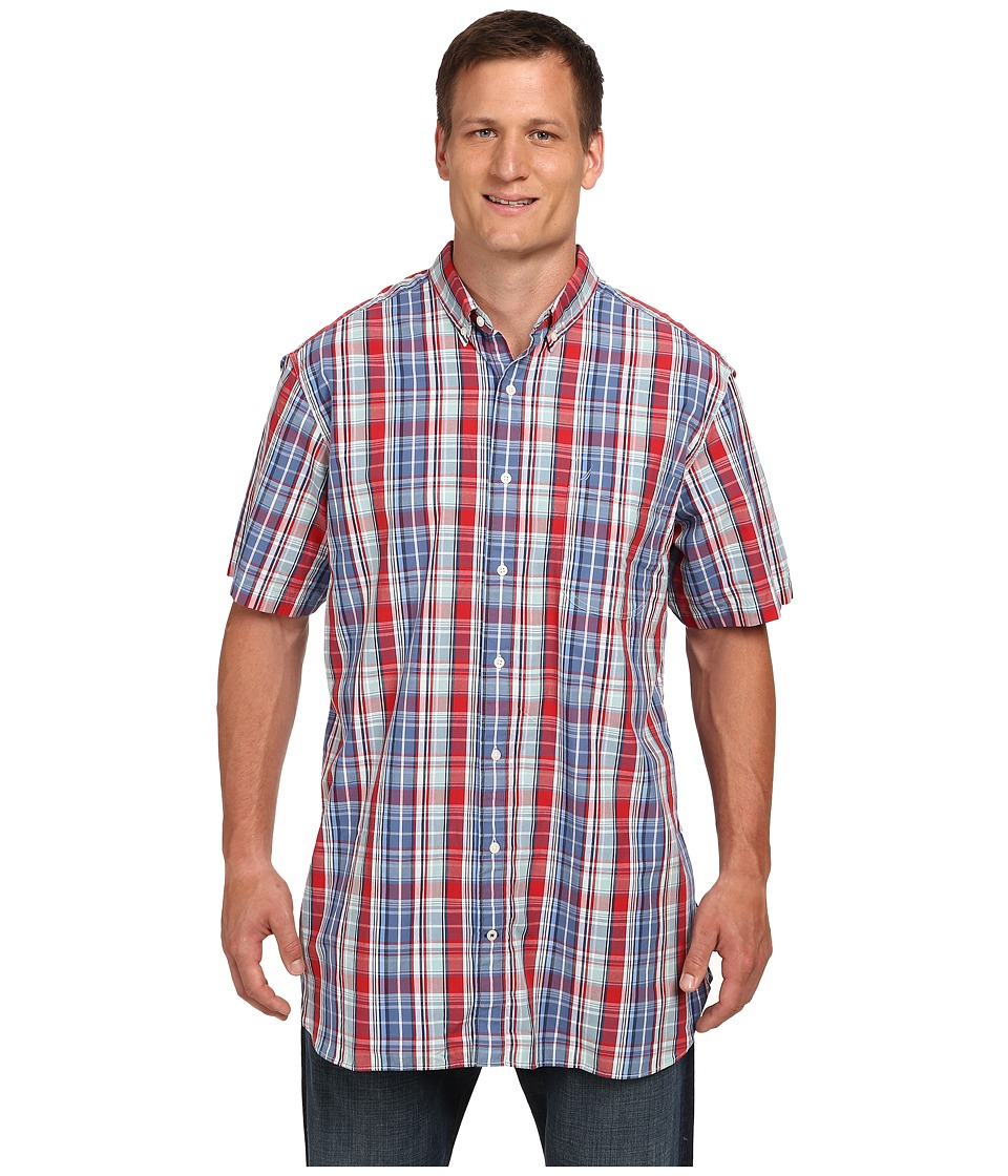 Nautica Big & Tall - Big Tall Short Sleeve Plaid (True Red) Men's Short Sleeve Button Up