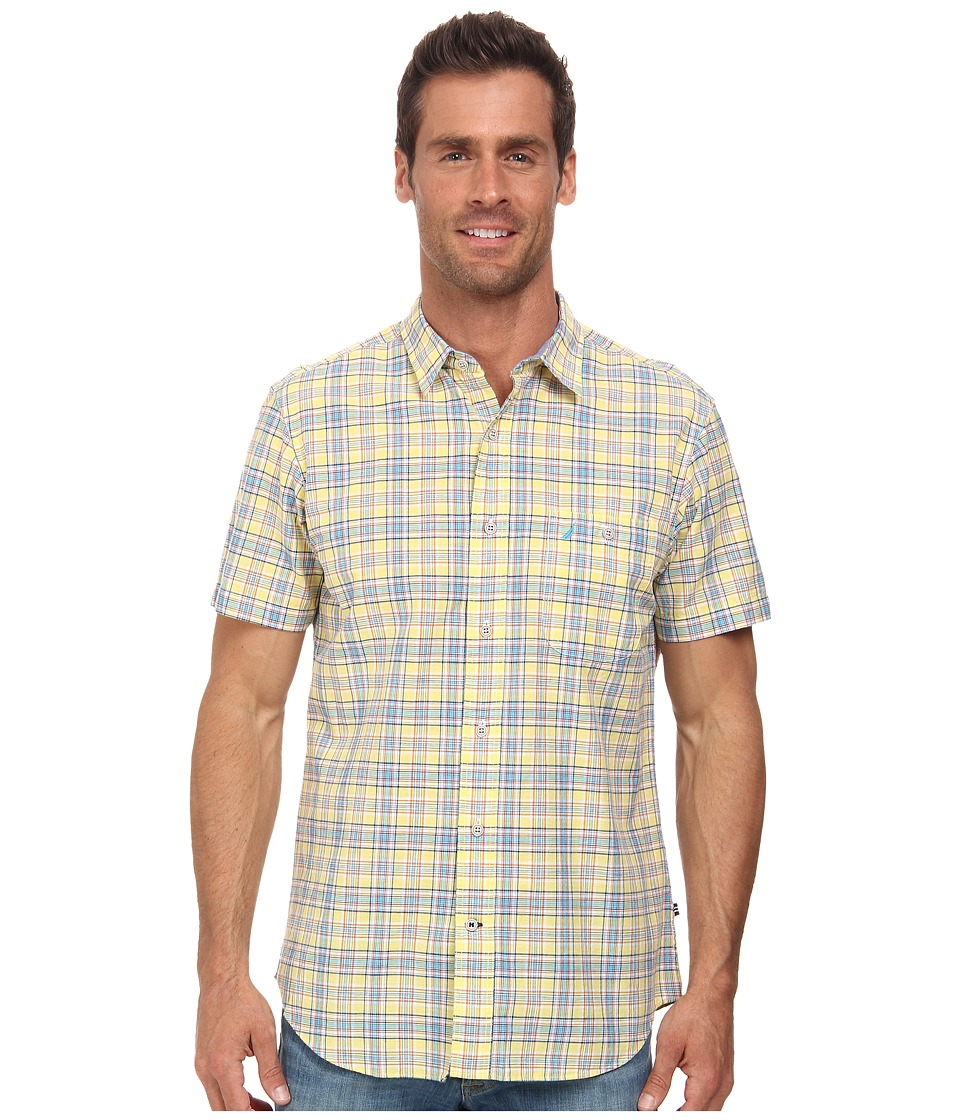 Nautica - Short Sleeve Medium Plaid (Snap Dragon) Men's Short Sleeve Button Up