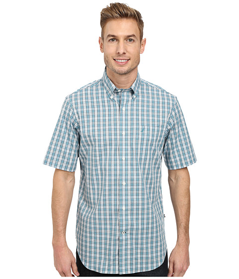 Nautica - Short Sleeve Medium Plaid (Blue Breton Blue) Men's Short Sleeve Button Up