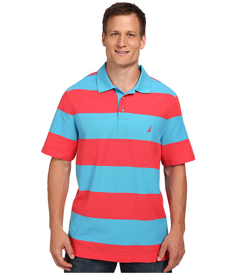 Nautica Big & Tall - Big Tall Short Sleeve Bold Stripe (Waterfall Turquoise) Men