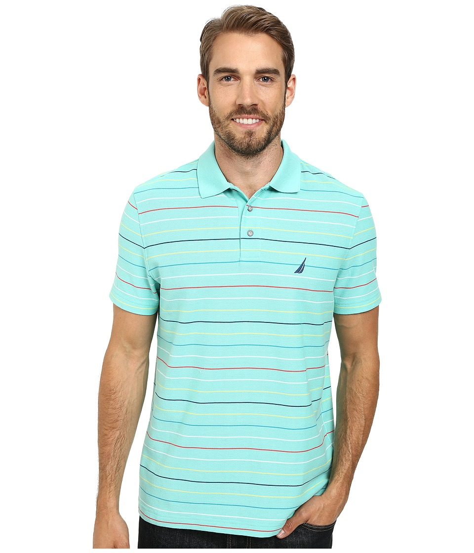 Nautica - Short Sleeve Stripe Polo (Aqua Isle) Men