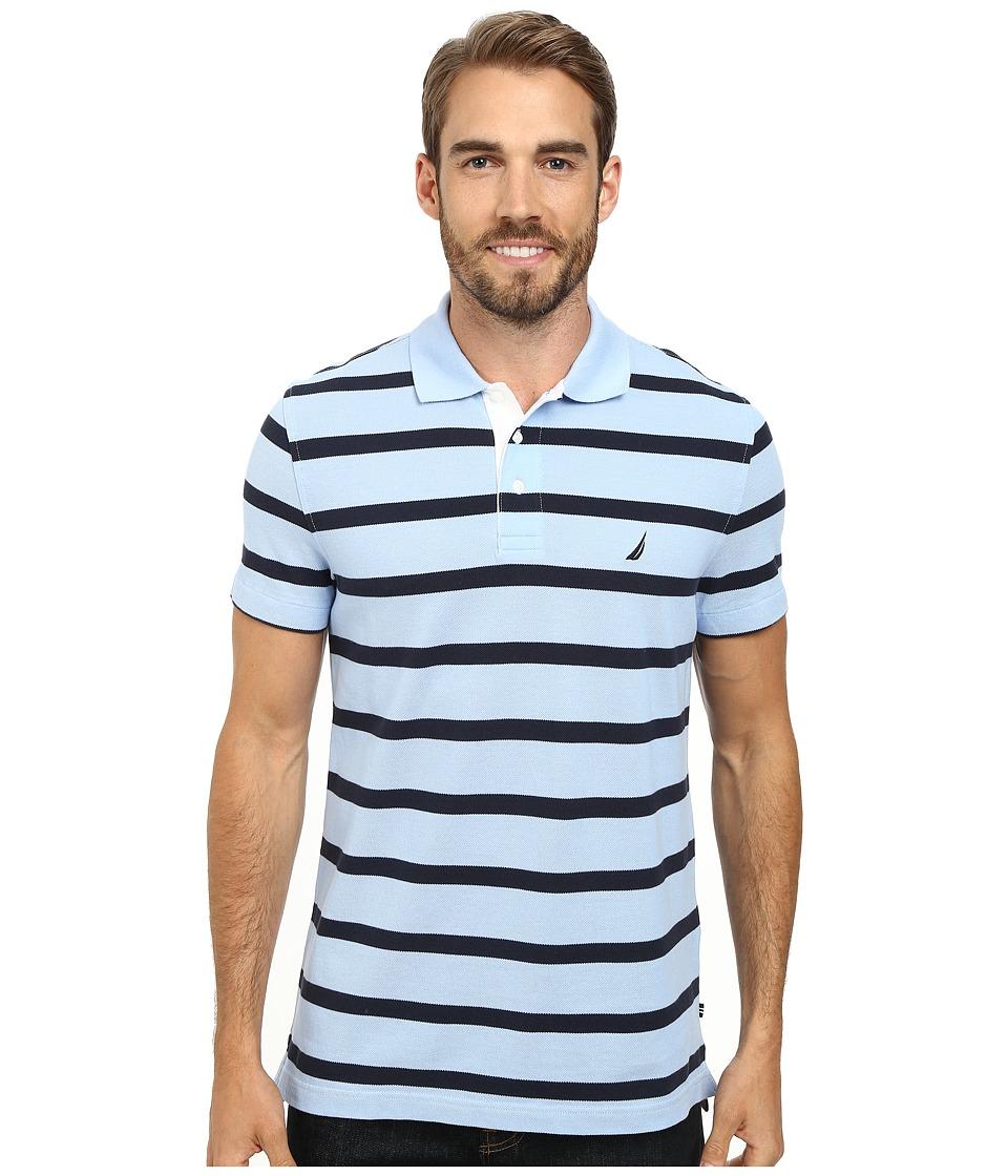 Nautica - Short Sleeve Stripe Polo (Noon Blue) Men