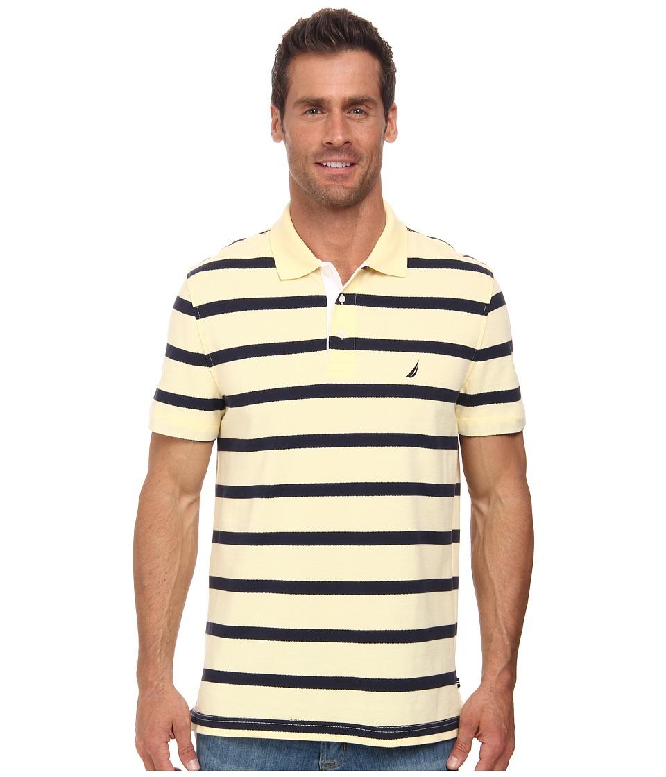 Nautica - Short Sleeve Stripe Polo (Soft Yellow) Men's Short Sleeve Knit