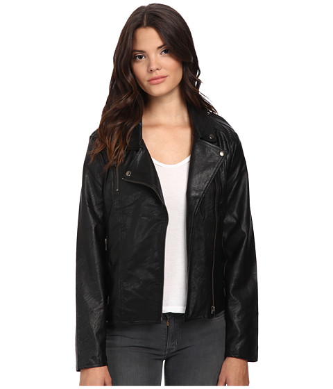 MINKPINK - Reckless PU Biker Jacket (Black) Women's Coat