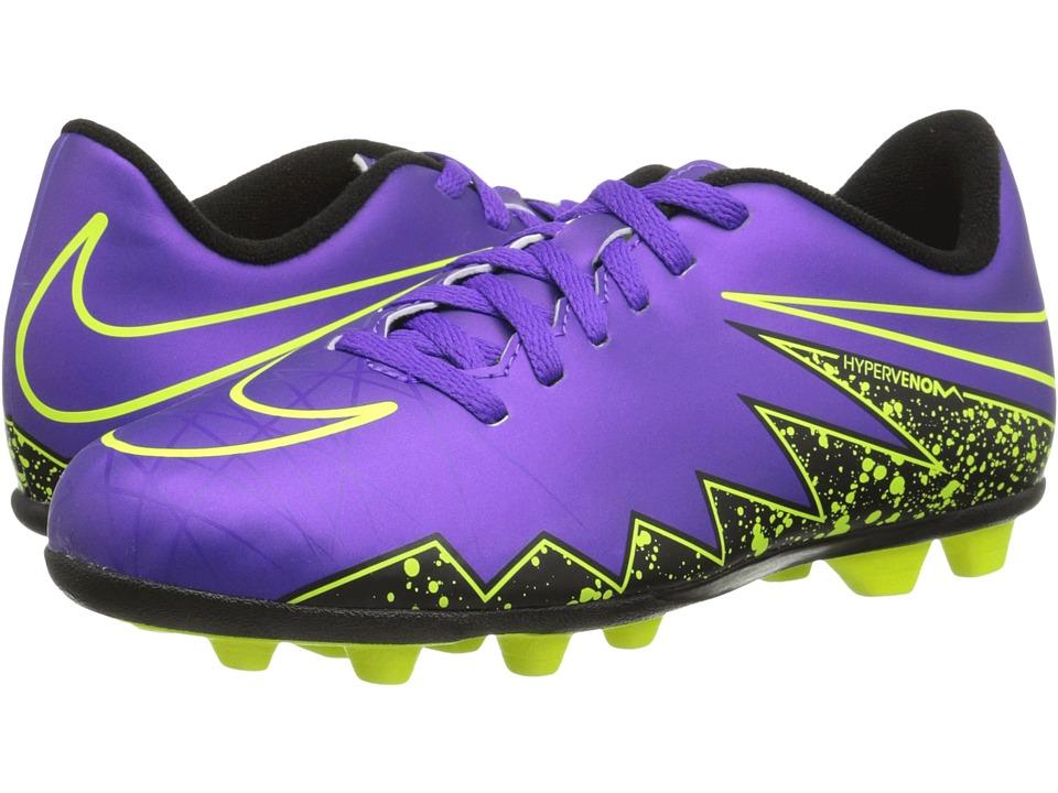 Nike Kids - Jr Hypervenom Phade II FG Soccer (Little Kid/Big Kid) (Hyper Grape/Black/Hyper Grape) Kids Shoes