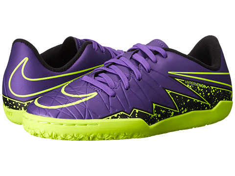 Nike Kids - Jr Hypervenom Phelon II IC Soccer (Toddler/Little Kid/Big Kid) (Hyper Grape/Black/Hyper Grape) Kids Shoes