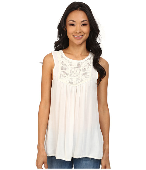 Dylan by True Grit - Ethnic Sleeveless High-Low Top (Vintage White) Women's Sleeveless