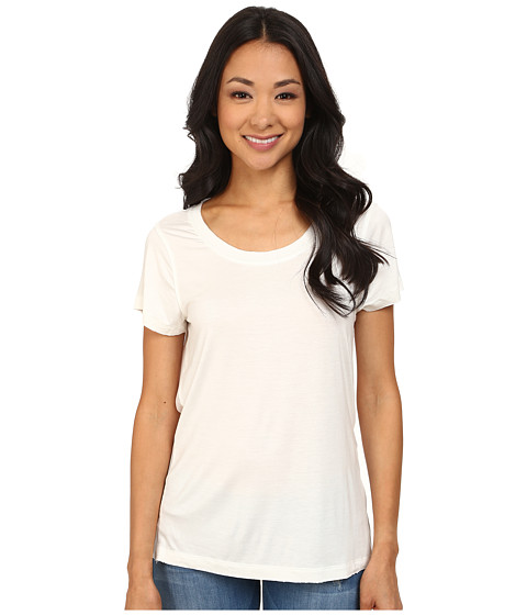 Dylan by True Grit - Short Sleeve Tee w/ Chiffon Back (White) Women's T Shirt