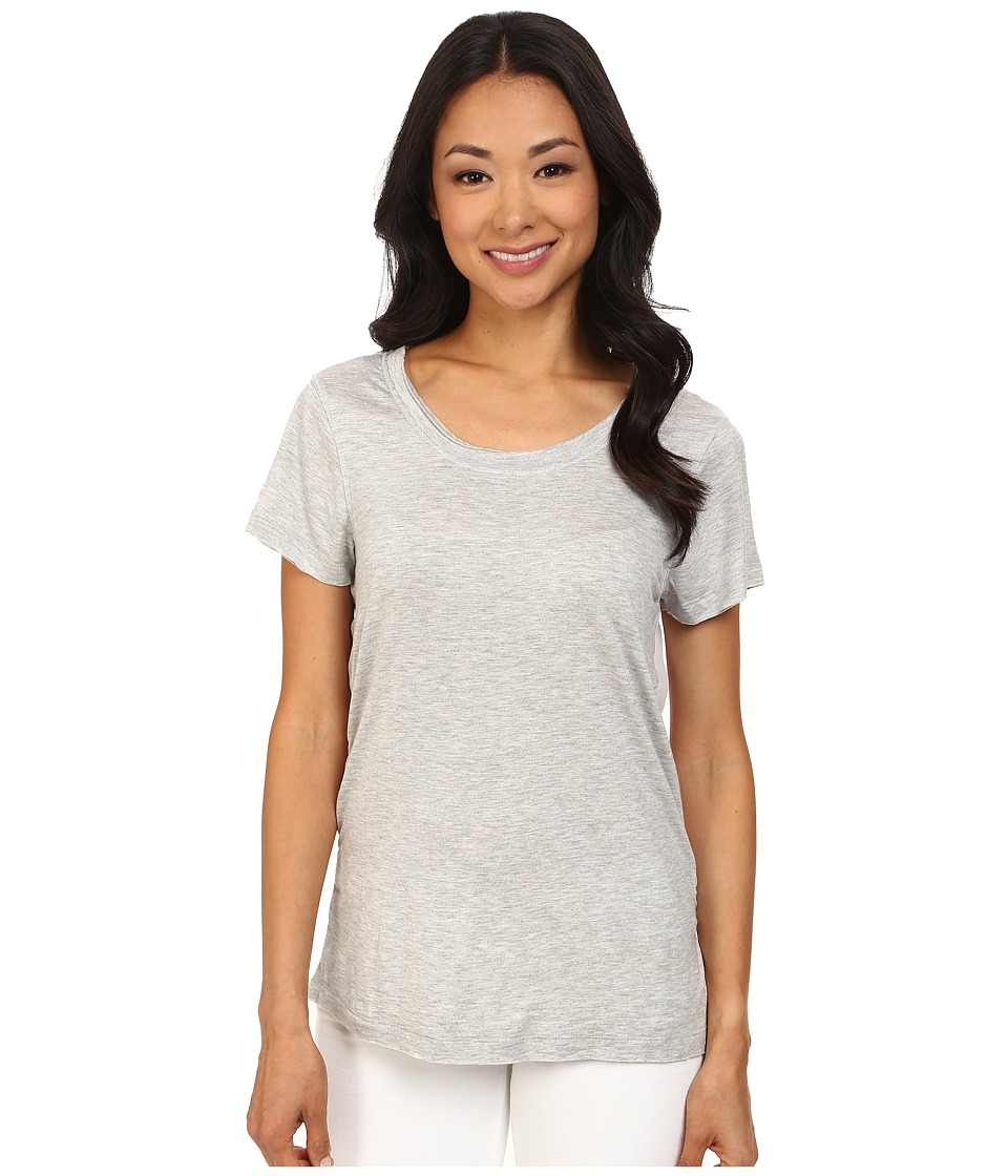 Dylan by True Grit - Short Sleeve Tee w/ Chiffon Back (Heather) Women's T Shirt