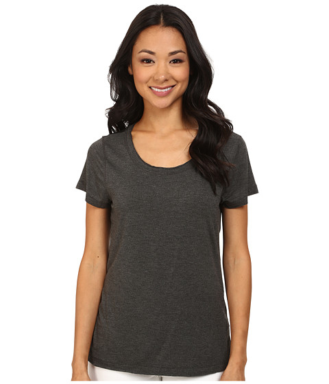 Dylan by True Grit - Short Sleeve Tee w/ Chiffon Back (Black) Women's T Shirt