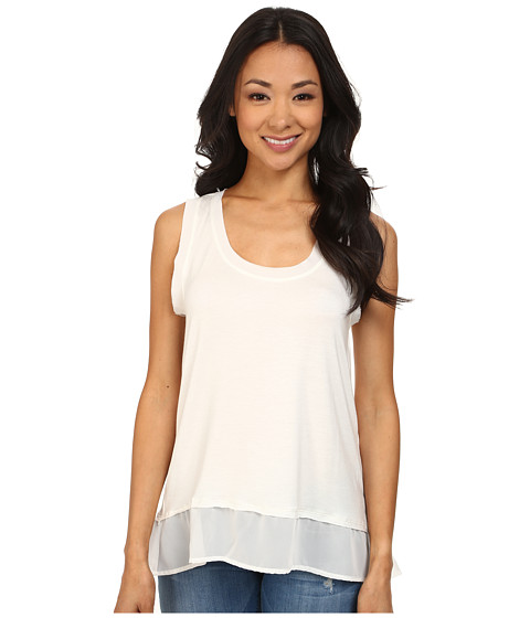 Dylan by True Grit - Loose Knit Tank Top w/ Chiffon Trim (White) Women