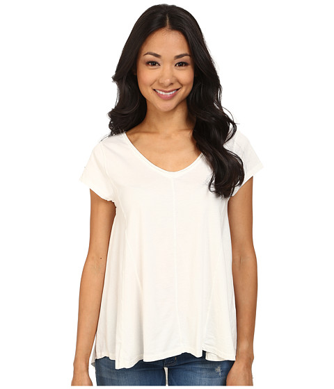 Dylan by True Grit - High-Low Stitches V-Neck Top (Perfect White) Women