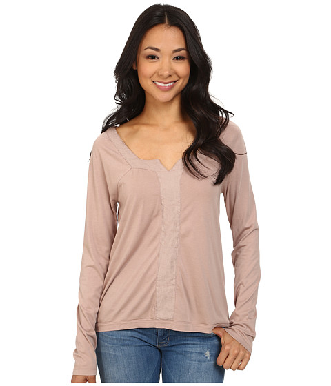 Dylan by True Grit - Long Sleeve Peasant Top w/ Shimmer Stripe (Icy Mauve) Women's Long Sleeve Pullover