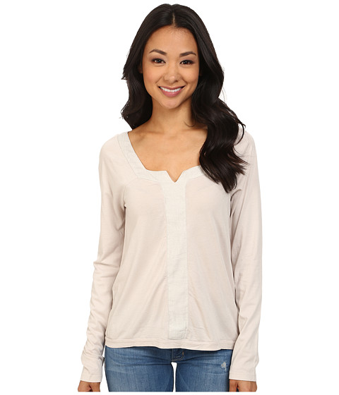 Dylan by True Grit - Long Sleeve Peasant Top w/ Shimmer Stripe (Icy Grey) Women