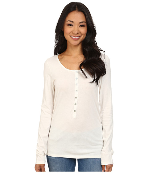 Dylan by True Grit - Long Sleeve Soft Shimmer w/ Shimmer Stripe Shell Button (Perfect White) Women