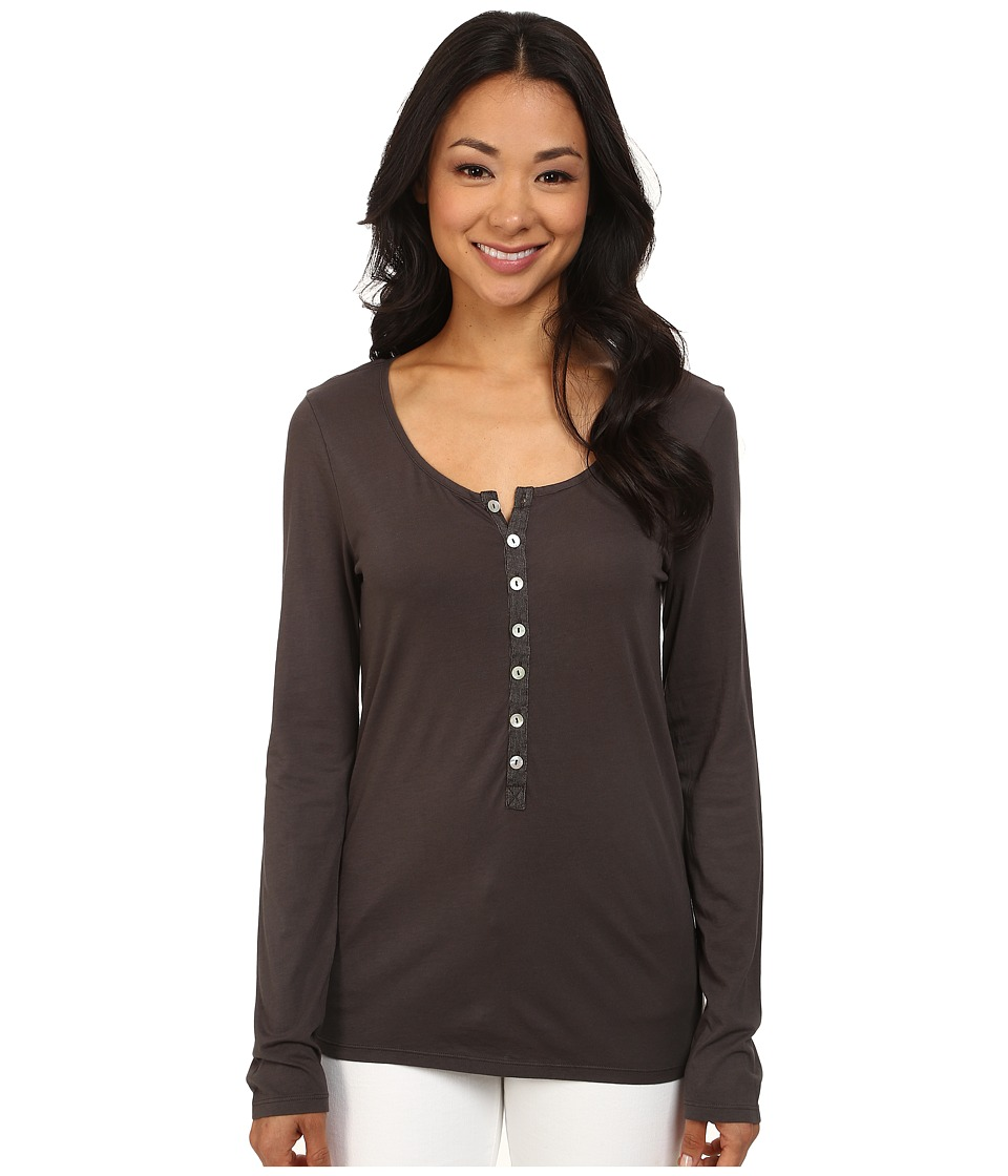 Dylan by True Grit - Long Sleeve Soft Shimmer w/ Shimmer Stripe Shell Button (Charcoal) Women's Long Sleeve Pullover