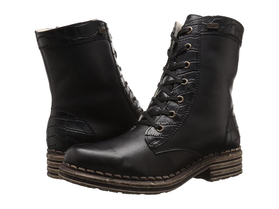 Rieker - Y9622 (Black Cristallino/Black Gavial) Women's Dress Boots