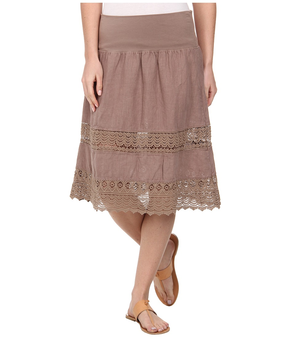 Dylan by True Grit - Crochet Panel Flirt Skirt (Malt Brown) Women