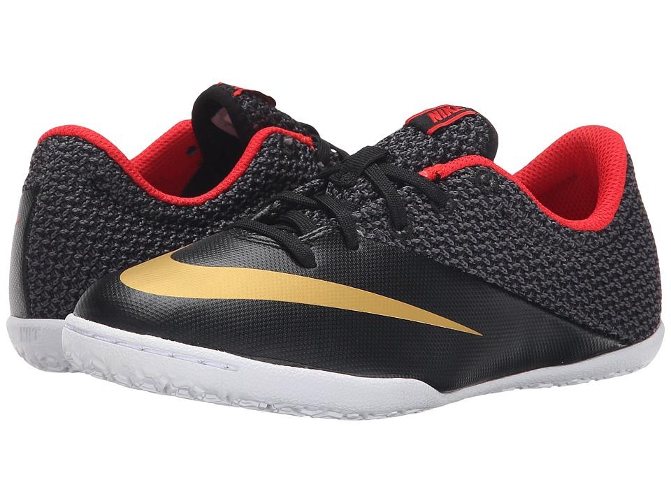 Nike Kids - Jr Mercurial Pro IC Soccer (Little Kid/Big Kid) (Black/Challenge Red/White/Metallic Gold) Kids Shoes