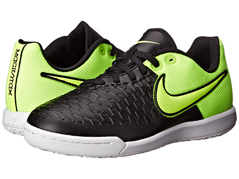 Nike Kids - Jr Magistax Pro IC Soccer (Little Kid/Big Kid) (Black/Volt/White/Volt) Kids Shoes