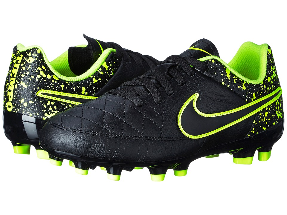 Nike Kids - Jr Tiempo Genio Leather Firm Ground Soccer (Toddler/Little Kid/Big Kid) (Black/Black) Kids Shoes