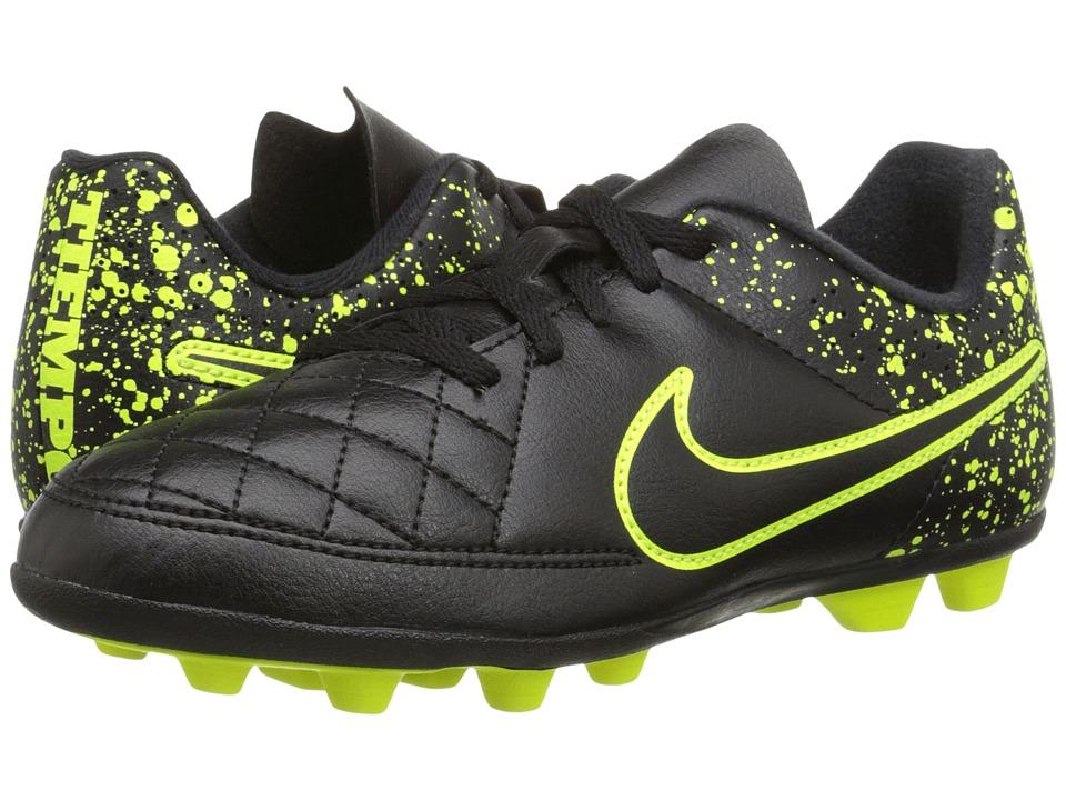 Nike Kids - Jr Tiempo Rio II FG-R Soccer (Toddler/Little Kid/Big Kid) (Black/Black) Kids Shoes