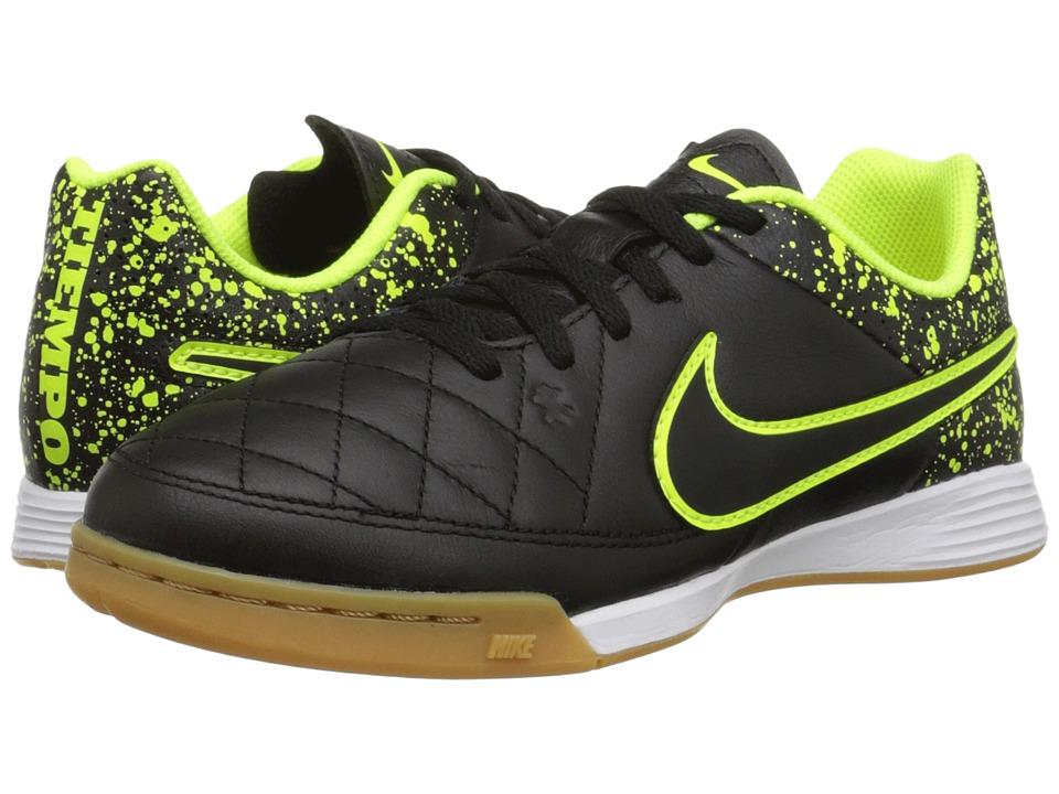 Nike Kids - Jr Tiempo Genio Leather IC Soccer (Little Kid/Big Kid) (Black/Black) Kids Shoes