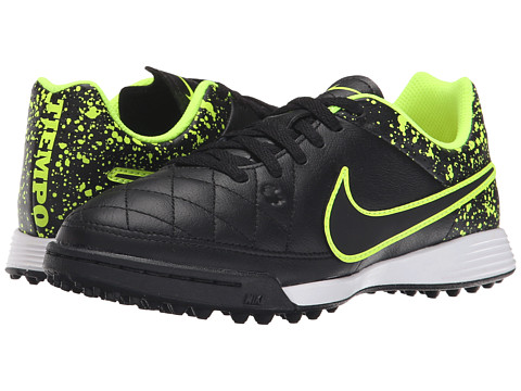 Nike Kids - Jr Tiempo Genio Leather TF Soccer (Little Kid/Big Kid) (Black/Black) Kids Shoes
