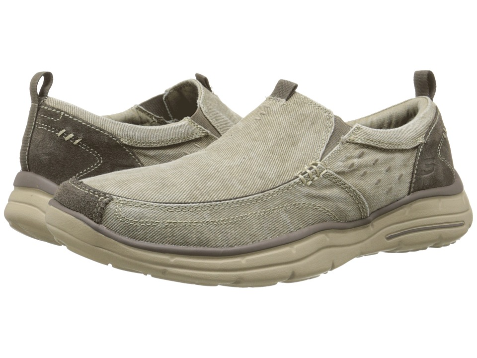 SKECHERS - Relaxed Fit Glides - Benideck (Khaki) Men's Slip on Shoes