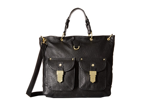 Steve Madden - Bannie North/South Tote w/ Double Front Pocket Bag (Black/Black) Tote Handbags