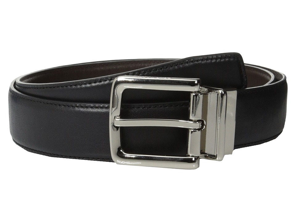 Cole Haan - 32mm Feather Edge Stitched Reversible with Harness Buckle (Black/Brown) Men's Belts