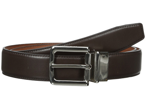 Cole Haan - 32mm Feather Edge Stitched Reversible with Harness Buckle (Chocolate) Men