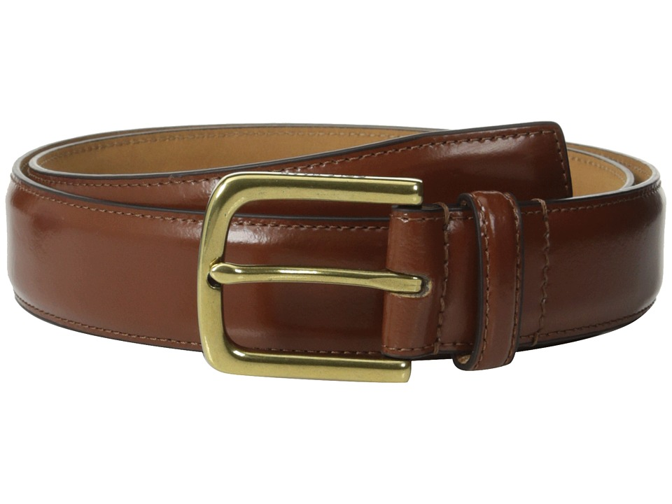 Cole Haan - 32mm Spazzolato Feather Edge Stitched Strap (British Tan/Brass) Men's Belts