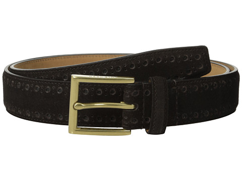 Cole Haan - 32mm Feather Edge Stitched Strap with Perforated Detail (Java) Men's Belts
