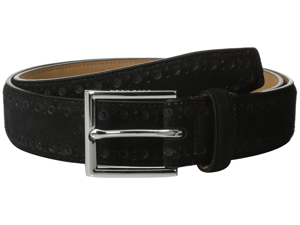 Cole Haan - 32mm Feather Edge Stitched Strap with Perforated Detail (Black) Men's Belts