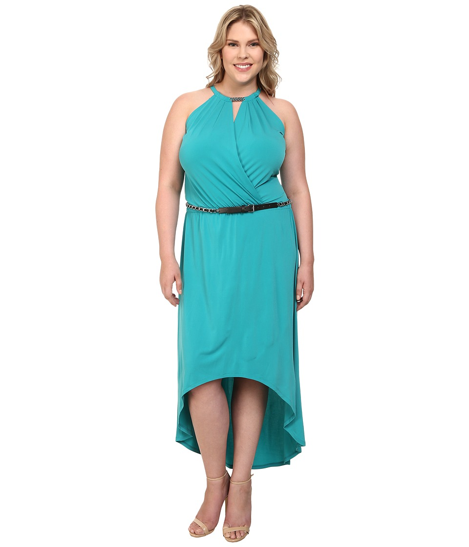 MICHAEL Michael Kors Plus Size Matte Jersey Halter Eliptical Hem Dress (Tile Blue) Women