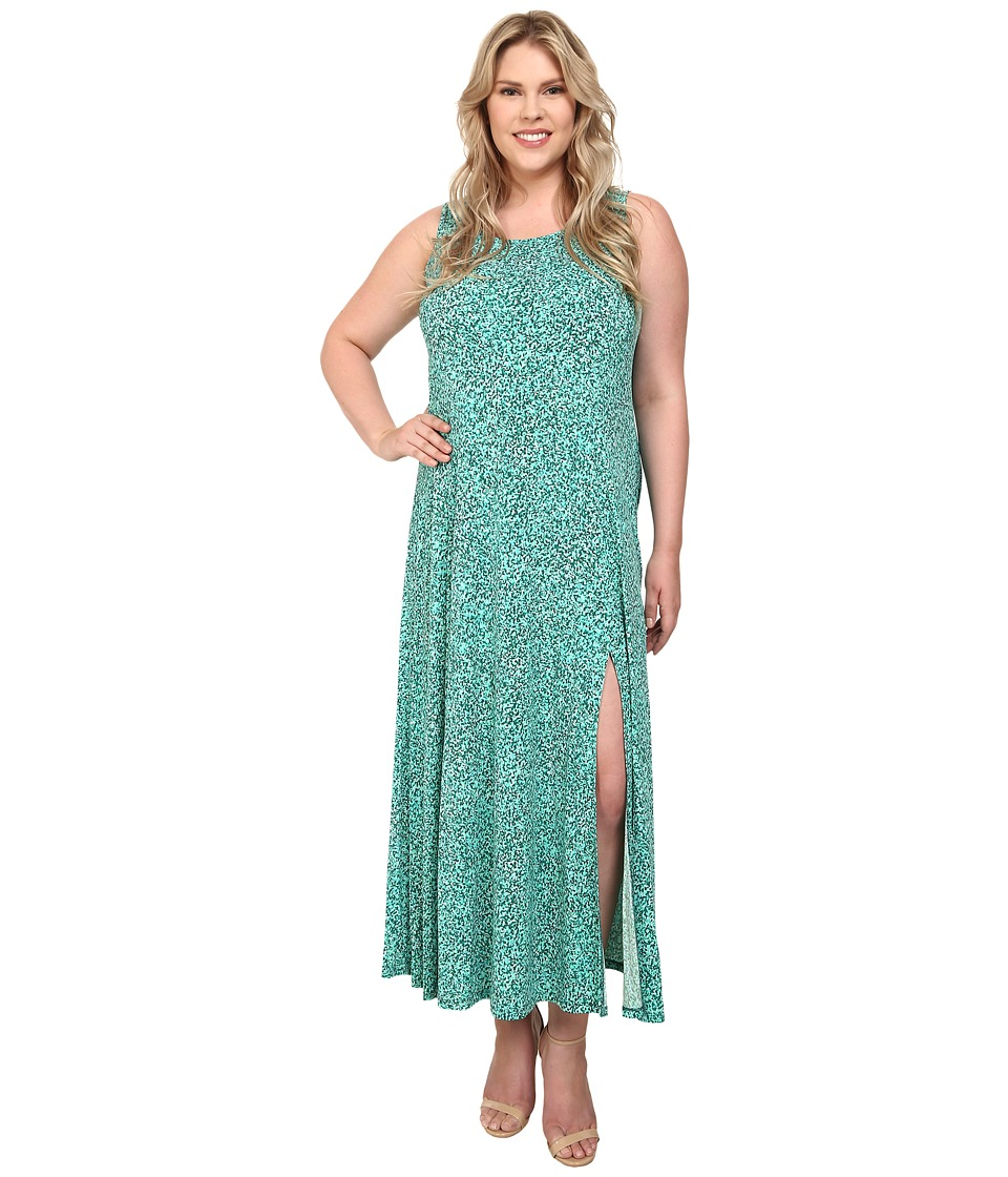 MICHAEL Michael Kors - Plus Size Rain Print Maxi Tank Dress (Pepper Green) Women's Dress