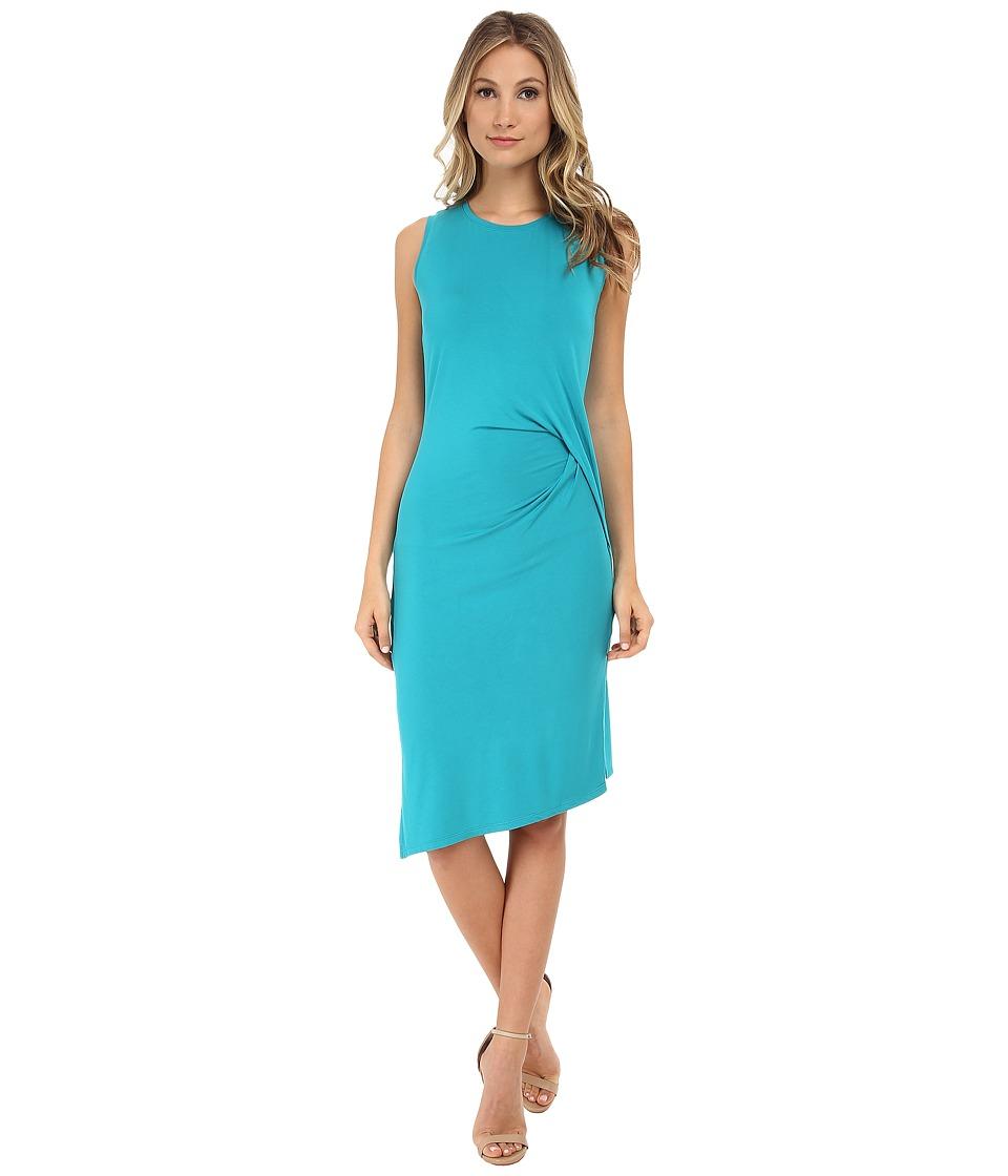 MICHAEL Michael Kors - Sleeveless Open Crew Neck Drape Dress (Tile Blue) Women's Dress