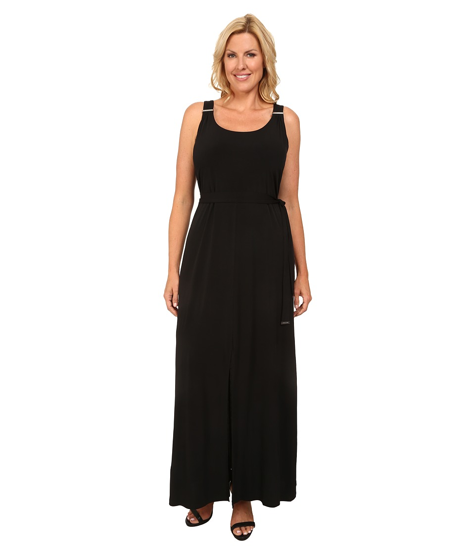 MICHAEL Michael Kors - Plus Size Solid Matte Jersey Logo Maxi (Black) Women's Dress