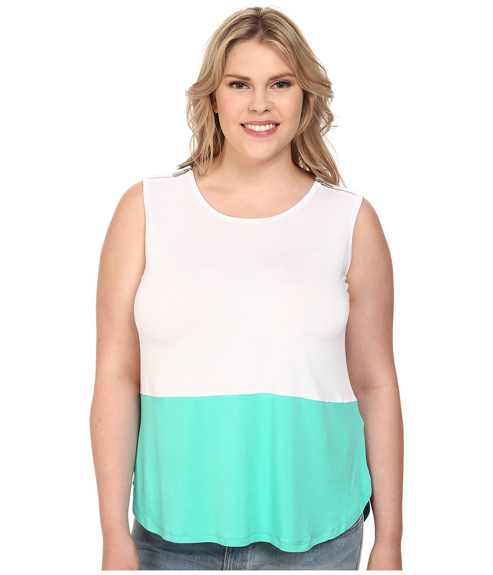 MICHAEL Michael Kors - Plus Size Zip Shoulder Clear Blak Tank Top (Aqua) Women's Sleeveless