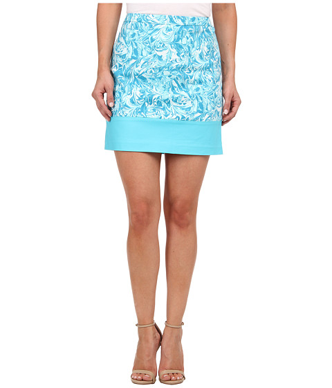 MICHAEL Michael Kors - Petite Print Blocked Mini (Turquoise) Women's Skirt