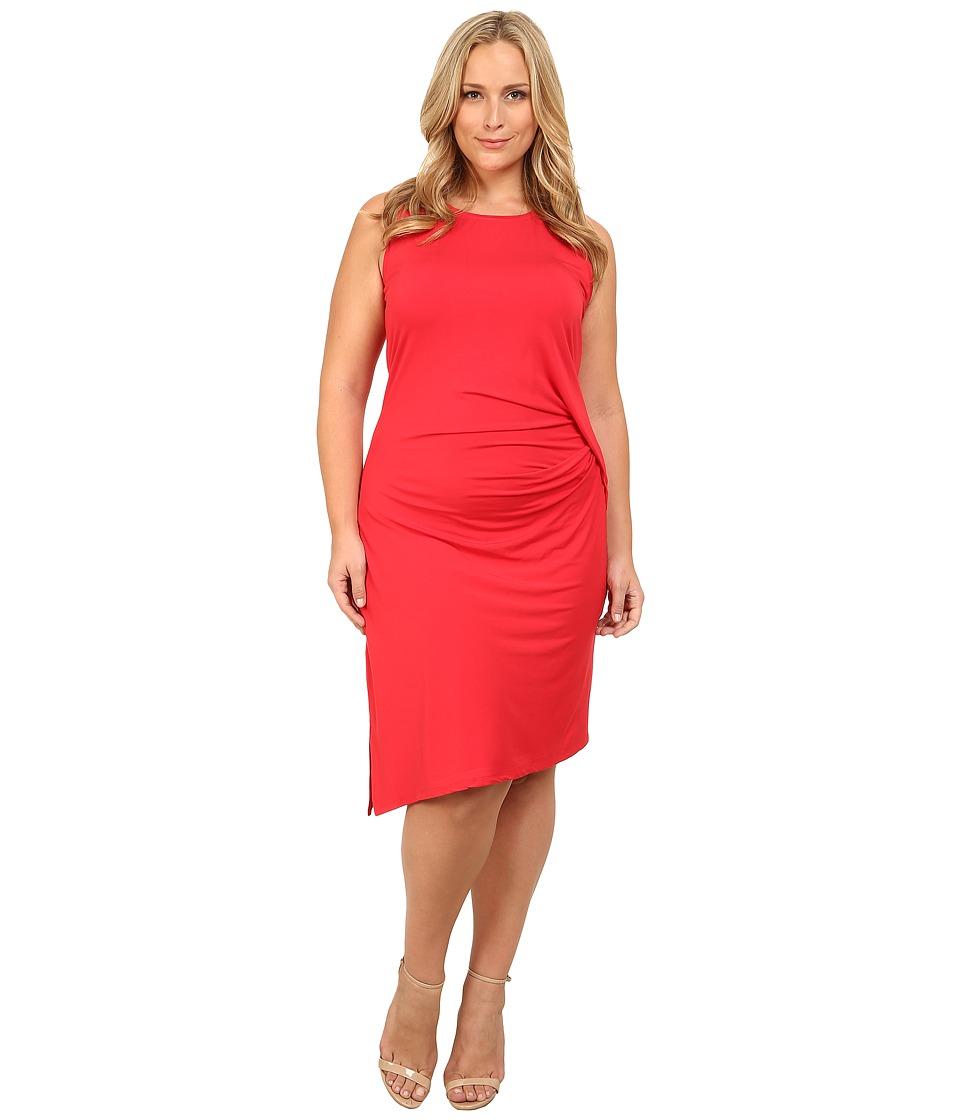 MICHAEL Michael Kors - Plus Size Sleeveless Open Crew Neck Drape Dress (True Red) Women's Dress