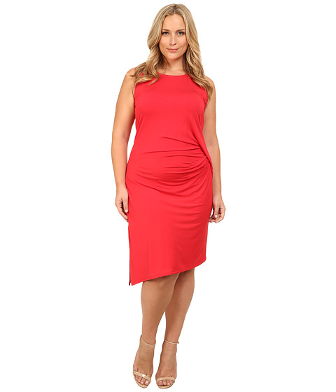 MICHAEL Michael Kors - Plus Size Sleeveless Open Crew Neck Drape Dress (True Red) Women's Dress