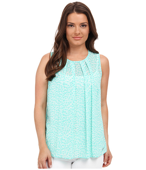 MICHAEL Michael Kors - Petite Abstract Jag Pleat Top (Aqua) Women's Blouse
