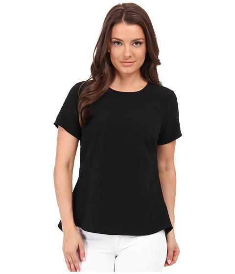 MICHAEL Michael Kors - Petite Shirt w/ Back Peplum (Black) Women's Short Sleeve Pullover