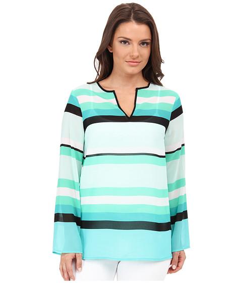 MICHAEL Michael Kors - Petite Kirkham Stripe V-Neck Top (Turquoise) Women's Blouse