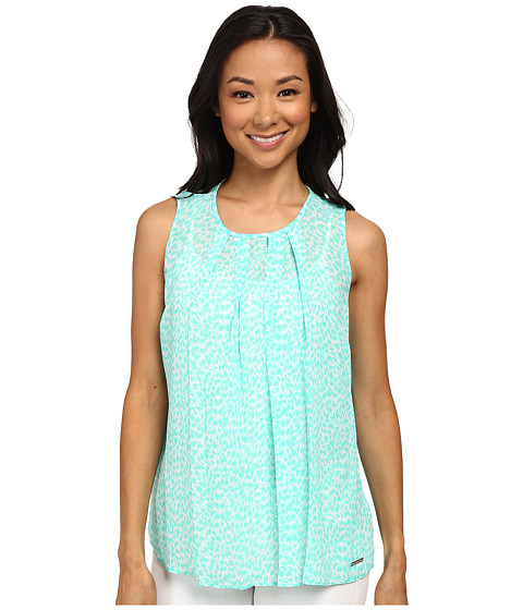 MICHAEL Michael Kors - Abstract Jag Pleat Top (Aqua) Women