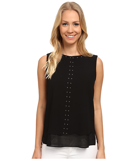MICHAEL Michael Kors - Double Layer Top (Black) Women's Sleeveless